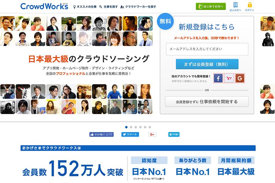 クラウドワークスのホームページ