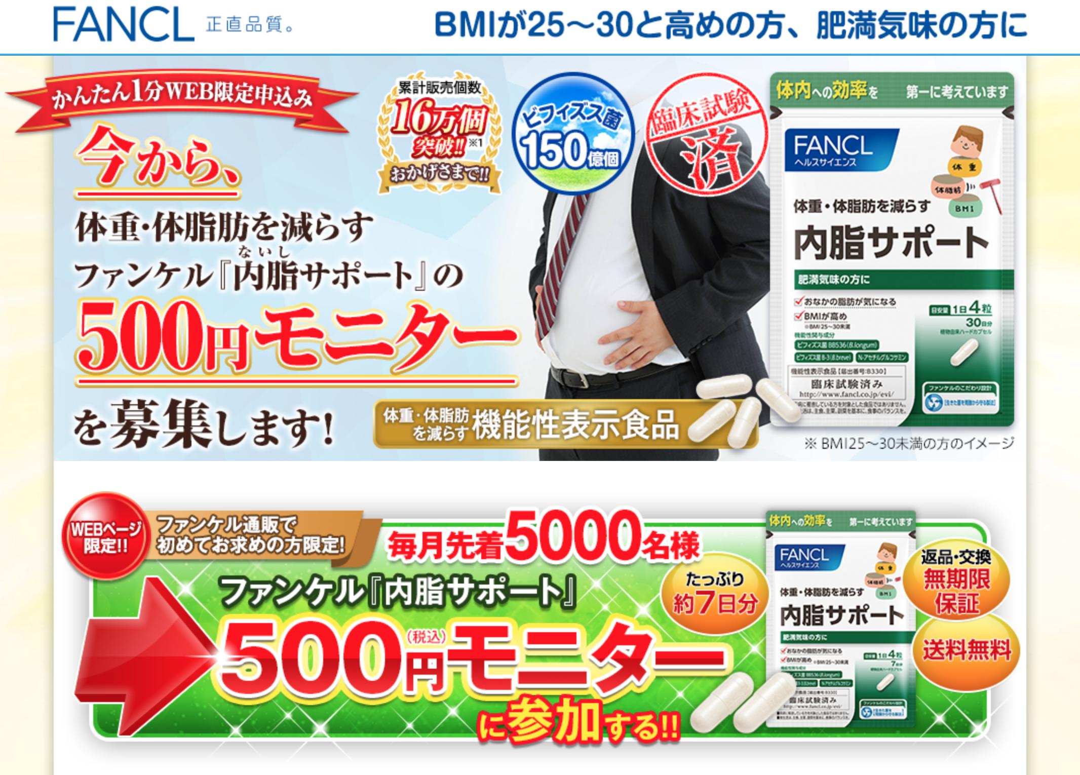 内脂サポートの500円モニター